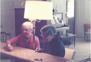Oma on the right, quilting in her Beamsville home with her friend. Photo courtesy of Glenna Cairnie